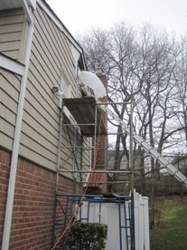 negative air machine being used in attic mold removal, neg air machine in use attic mold remediation