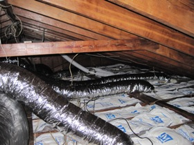 attic after mold remediation new duct work, attic after mold removal new ducts