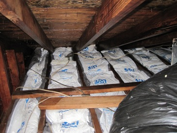 attic with new insulation after mold removal, attic new insulation after mold remediation