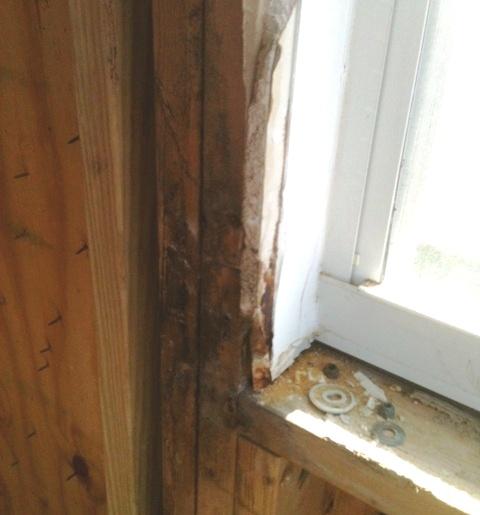 Mold inside wall from window leak