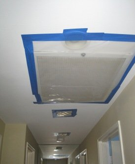 ac vents and hi hats with plastic, plastic over hi hats for attic mold remediation, attic mold removal